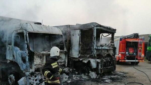 Пожар на трассе в Первомайском районе Крыма