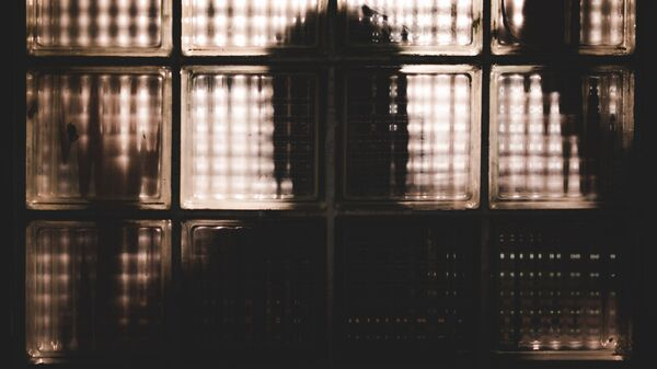 Силуэт человека за стеклянными блоками