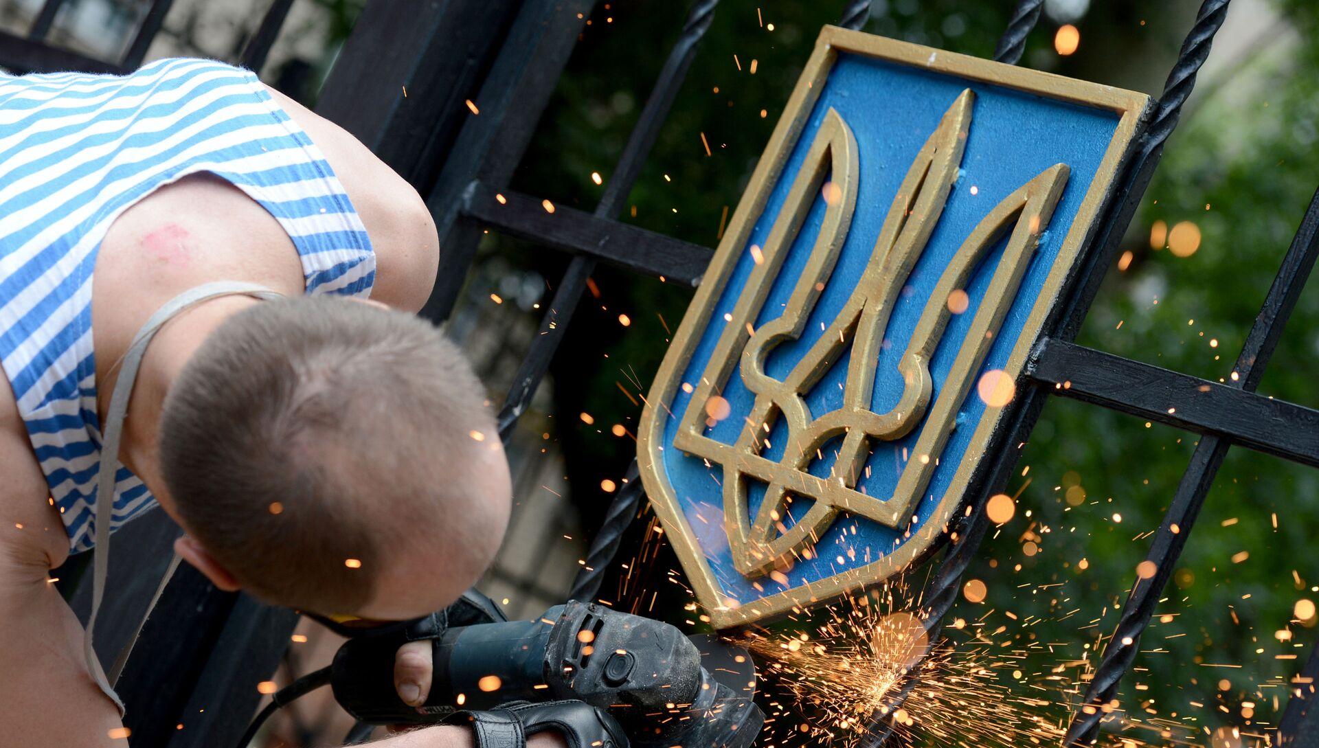 Боец ополчения Луганской народной республики срезает герб Украины с ворот здания областной администрации в Луганске - РИА Новости, 1920, 15.11.2020