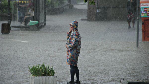 Сильный дождь в Симферополе
