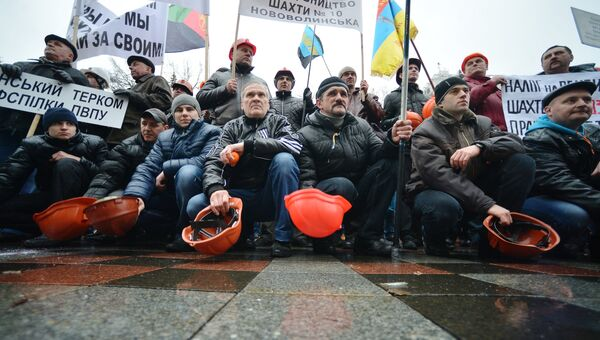 Акция протеста шахтеров у здания Верховной рады в Киеве